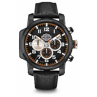 Harley Davidson Mens Black Leather Strap Chronograph 78B139 Watch