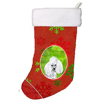 White Toy Poodle Red Snowflakes Holiday Christmas Stocking