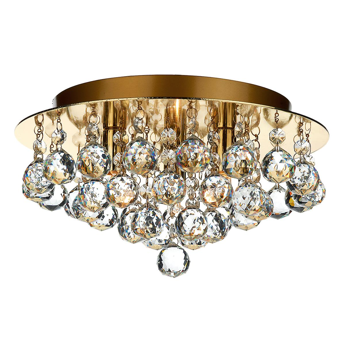 Dar PLU5240 Pluto 3 Light Flush Polished Brass Ceiling Light With Crystal Glass
