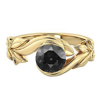 14K Yellow Gold 2.00 CT Black Diamond Ring Flower Leaves Designer