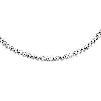 Argento rodiato finitura 8,0 mm splendente collana di perline con chiusura a moschettone. -18 pollici