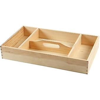 Four Compartment Wooden Tray with Central Handle to Decorate