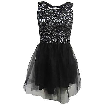 Black Silver Lace Chiffon Prom Dress DR679-10