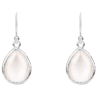 925 Sterling Silver Small Dangle Drop Earrings Pink Rose Quartz Crystal Gemstone