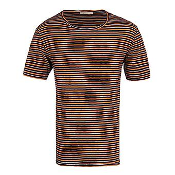 Nudie Jean Co Ove Plural Stripe Navy & Red Crew Neck T-Shirt