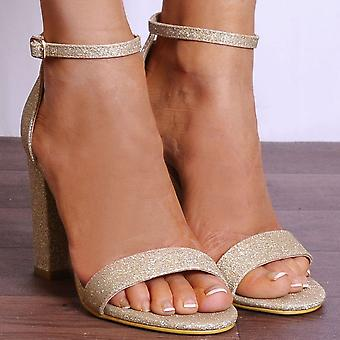 Shoe Closet Gold Strappy Heels - Ladies DB57 Gold Glitter Strappy Sandals Peep Toes High Heels