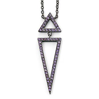 925 Silver Cobalt Plated Triangle And Zirconium Necklace Trend