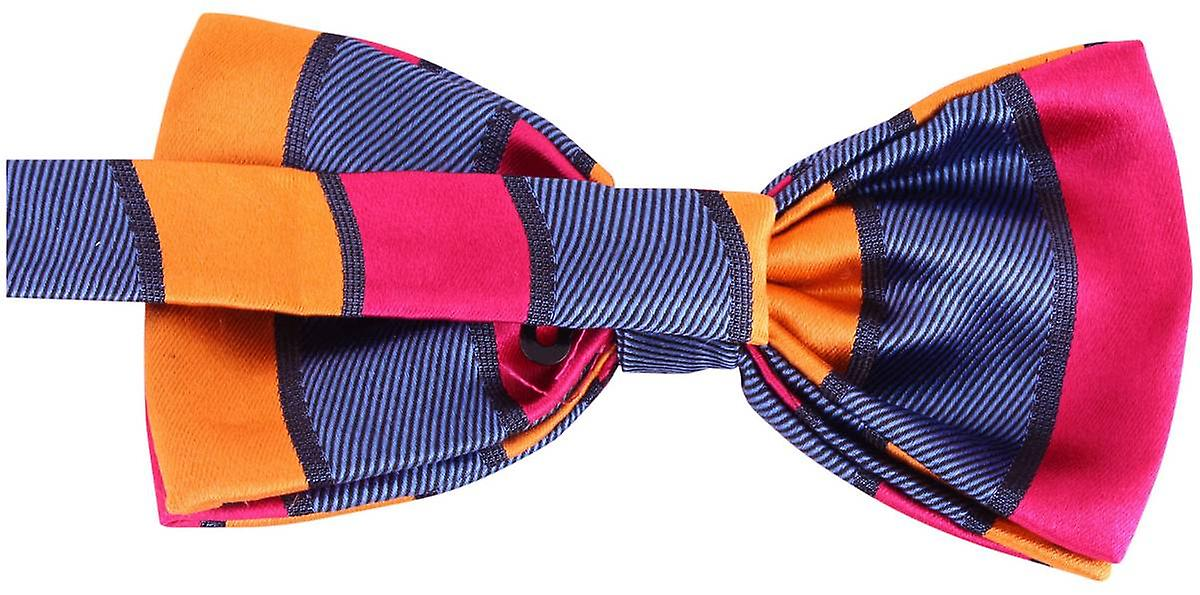 Knightsbridge Neckwear Block Stripe Silk Bow Tie - Pink/Orange/Navy