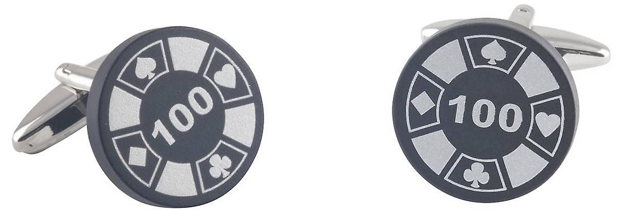 David Van Hagen Poker Chip Cufflinks - Silver/Black
