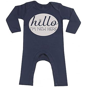 Spoilt Rotten Hello I'm New Here Navy Baby Footless Romper