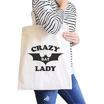 Crazy Bat Lady naturlig tunge bomull grafikk lerret Tote strand Bag