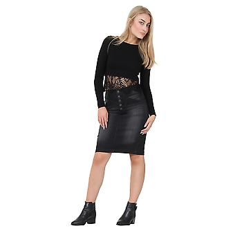 Black Denim Pencil Skirt Midi Jean skirt with front buttons detail