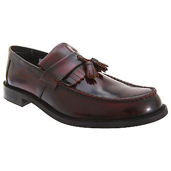 Roamers Mens Toggle Saddle Hi-Shine Leather Loafers