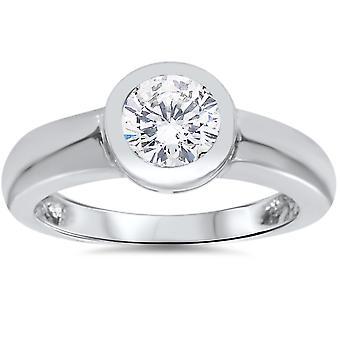 1ct Bezel angi Solitaire diamant forlovelsesring 14K hvitt gull rundt forbedret