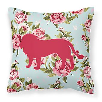 Lion Shabby Chic Rose blu Canvas tessuto cuscino decorativo BB1009