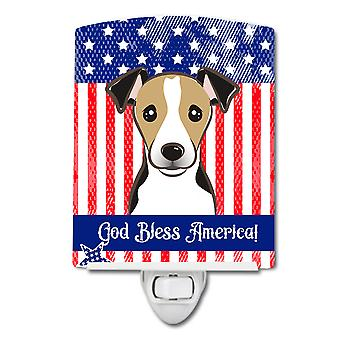 American Flag and Jack Russell Terrier Ceramic Night Light