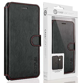 iPhone 6s læder-effekt tegnebog sag - sort med røde foring