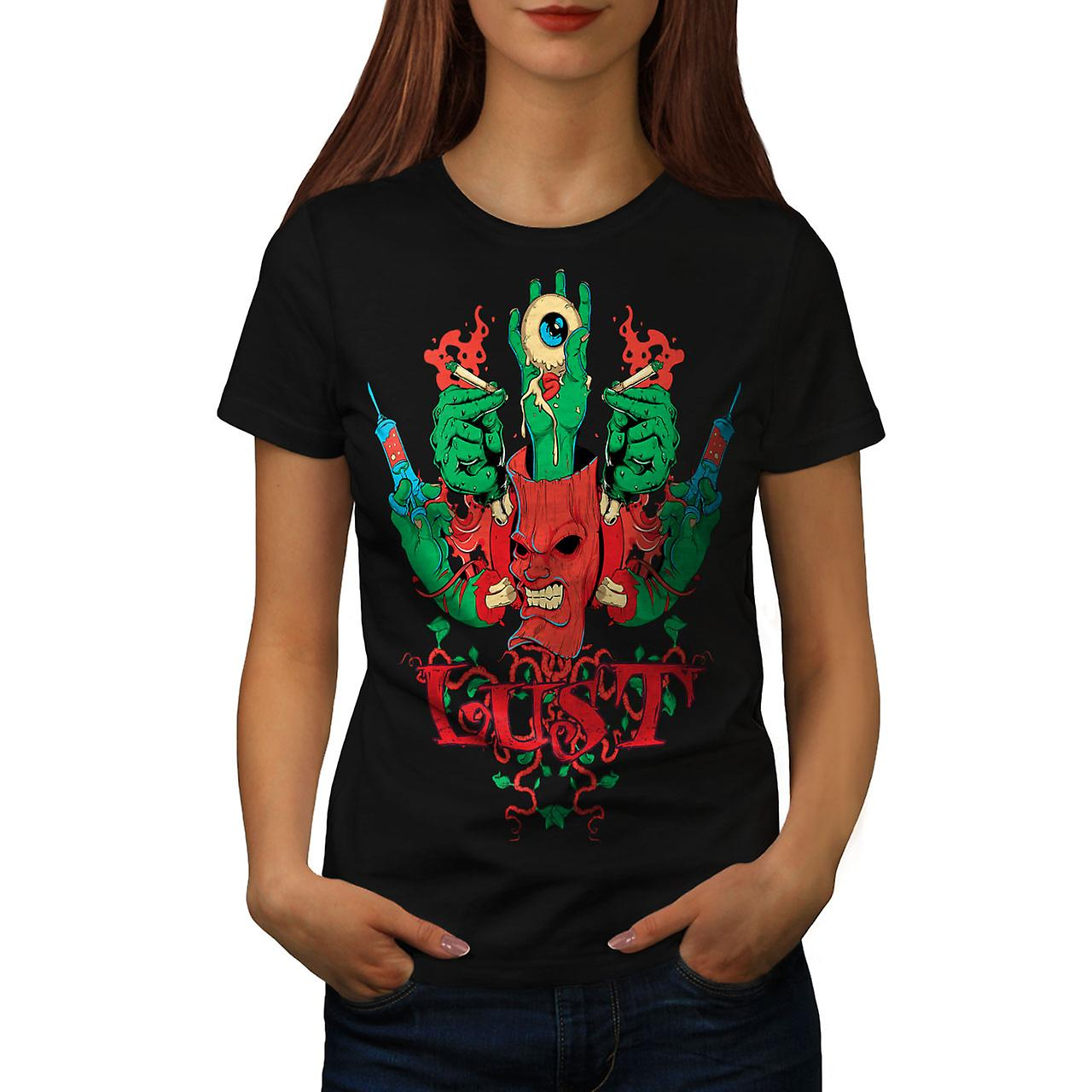 Demon Zombie Eye Horror Women Black T-shirt | Wellcoda