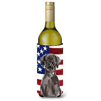 Black Labrador Patriotic Wine Bottle Beverge Insulator Hugger