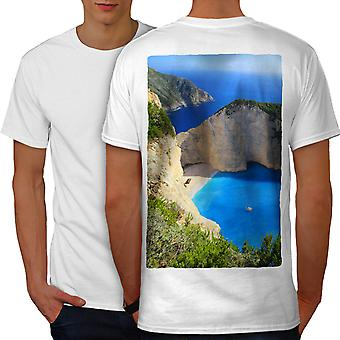 Cliff Ocean Water Men WhiteT-shirt Back   Wellcoda
