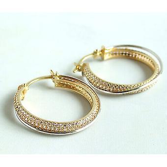 Bicolor earrings with zirconia