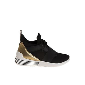 Kendall + Kylie women's BRAYDIN3BBLACK black/gold fabric of sneakers