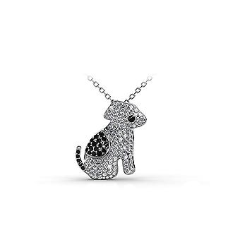 Dog adorned with Crystal white and black of Swarovski pendant