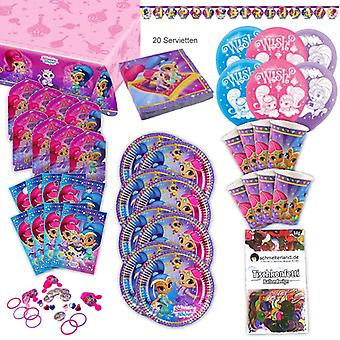 Shimmer and shine toddler party set XL 93-teilig for 8 guests at birthday party decoration party package