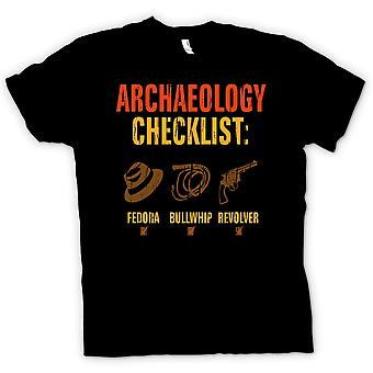 Mens T-shirt - Archaeology Checklist - Fedora Bullwhip Revolver - Funny