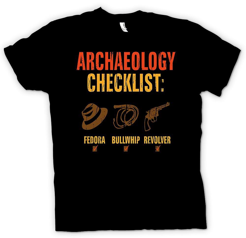 Heren T-shirt-Archeologie Checklist - Fedora Bullwhip Revolver - Funny