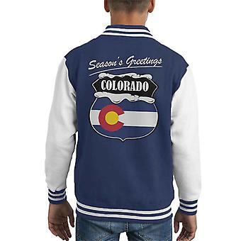 Seasons Greetings Colorado State Flag Christmas Kid's Varsity Jacket