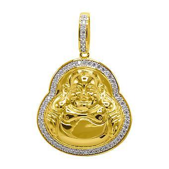 925 sterling silver micro pave pendant - mini BUDDHA gold