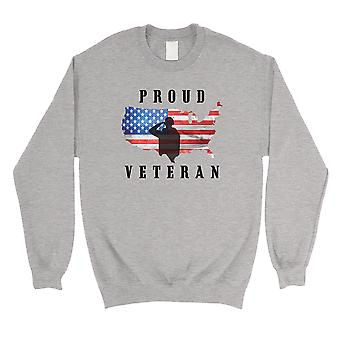 Proud Veteran Grey Sweatshirt Crewneck American Army Sweatshirt