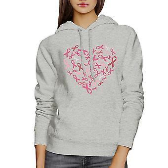 Pink Ribbon Heart Grey Unisex Hoodie For Breast Cancer Awareness