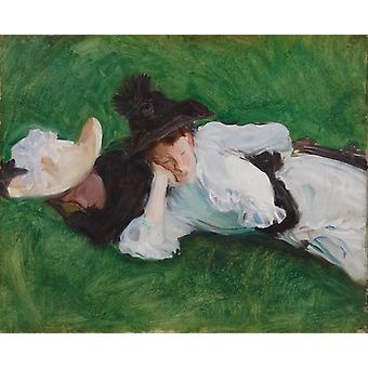 Two Girls on a Lawn, John Singer Sargent, 55.6 x 64.3 cm
