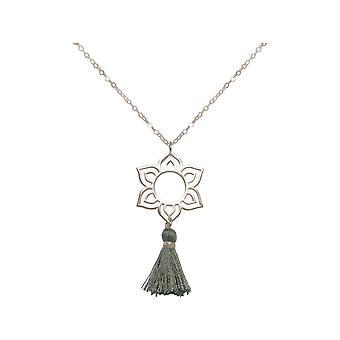 Gemshine - Damen - Halskette - Anhänger - 925 Silber - Lotus Blume - Mandala - Quaste - Grau - YOGA - 45 cm