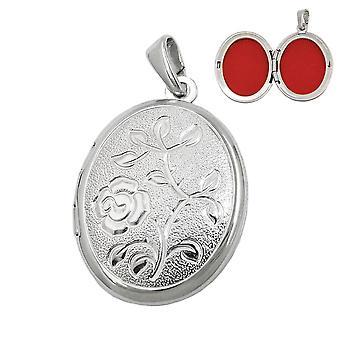 Silberner Medaillonanhänger Anhänger Medaillon oval Blumenmuster Silber 925