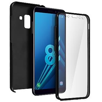 Silicone case + back cover in polycarbonate for Samsung Galaxy A8 - Black
