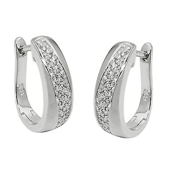 Creole 17x5mm hinged flip top of oval zirconias white rhodium-plated Silver 925