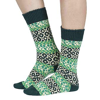 Get Lucky recycled cotton patterned crew socks in green | By Sidekick
