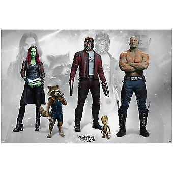 Guardians of the Galaxy vol. 2 poster Rocky, Star-Lord, Groot, guardians Gamora and DRAX.