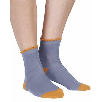 Frilly women's luxury cotton ankle sock in cornflower | By Corgi