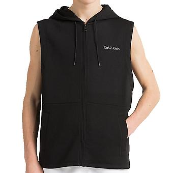 Calvin Klein Core Neo Sleeveless Zip Hoodie, Black, Medium