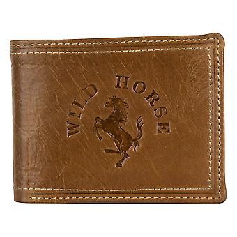 Monedero marrón de cuero para hombre pequeño caballo salvaje 11008W