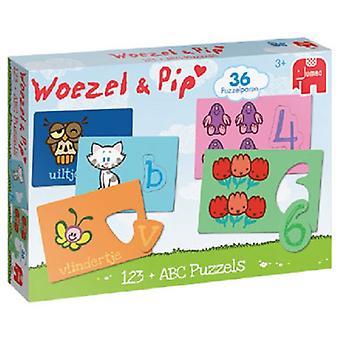 Jumbo Woezel&Pip ABC + 123 puzzel 36pc