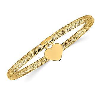 14K Yellow Gold Heart Mesh Stretch Bracelet