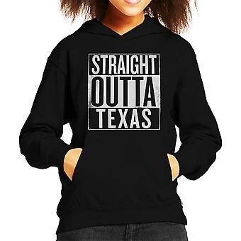 White Text Straight Outta Texas US States Kid's Hooded Sweatshirt