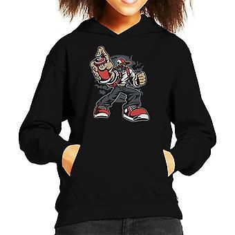 Spray Paint Mask Man Kid's Hooded Sweatshirt