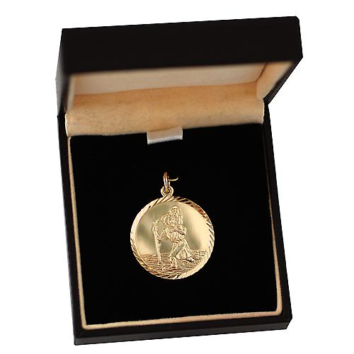 9ct Gold 25mm round diamond cut edge St Christopher Pendant