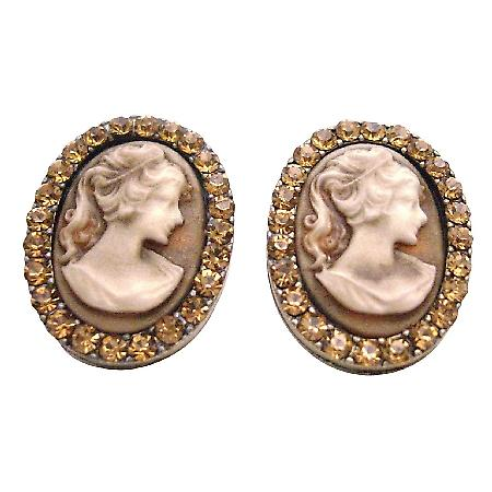 Valueable Gift For Your Mother Vintage Cameo Jewelry w/ Crystal